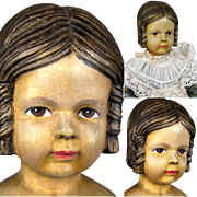 Early Swiss Linden Wood Doll with Rare Side Braid Hairstyle