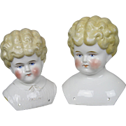 Two Antique German China Doll Heads ~ One Pet Name Pauline