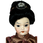 Antique Oriental Bisque Head German Doll