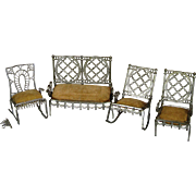 Antique Doll House Furniture ~ Settee & 3 Chairs 1893 Adrian Cooke Metallic Works Chicago