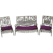 Antique 1893 Doll House Furniture ~ Settee Two Chairs Columbian Exposition Christopher Columbus