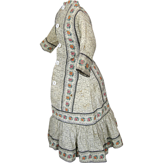Antique Doll Dress for French Fashion, German Lady, China, Papiermache ~ Great Pattern!