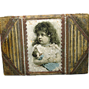 Antique Victorian Lithograph and Wood Box Trunk Girl with Doll
