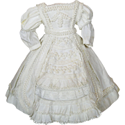 Antique Enfantine White Pique Dress with Soutache Trim ~ Bebe Bru or Child French Fashion Doll, Jumeau
