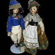 Vintage Pair Bavarian Stockinette Face Cloth Dolls