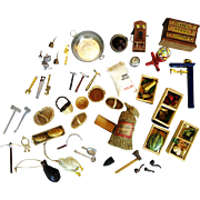 Vintage Doll House Accessories ~ Baskets, Tools, Food, Boxes