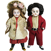 Sweet All Bisque Pair of German Doll House Dolls Original Clothing