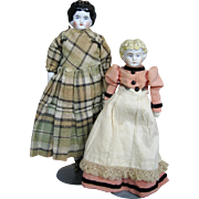 "China Head and Bisque Head Doll Lot of 2 ~ 8 1/2"" and 11"" German Dolls"