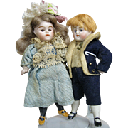 Antique All Bisque Pair of German Doll House Dolls, Original Clothing
