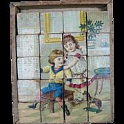 Antique Lithograph Victorian Wood Block Puzzle Block Set circa 1890