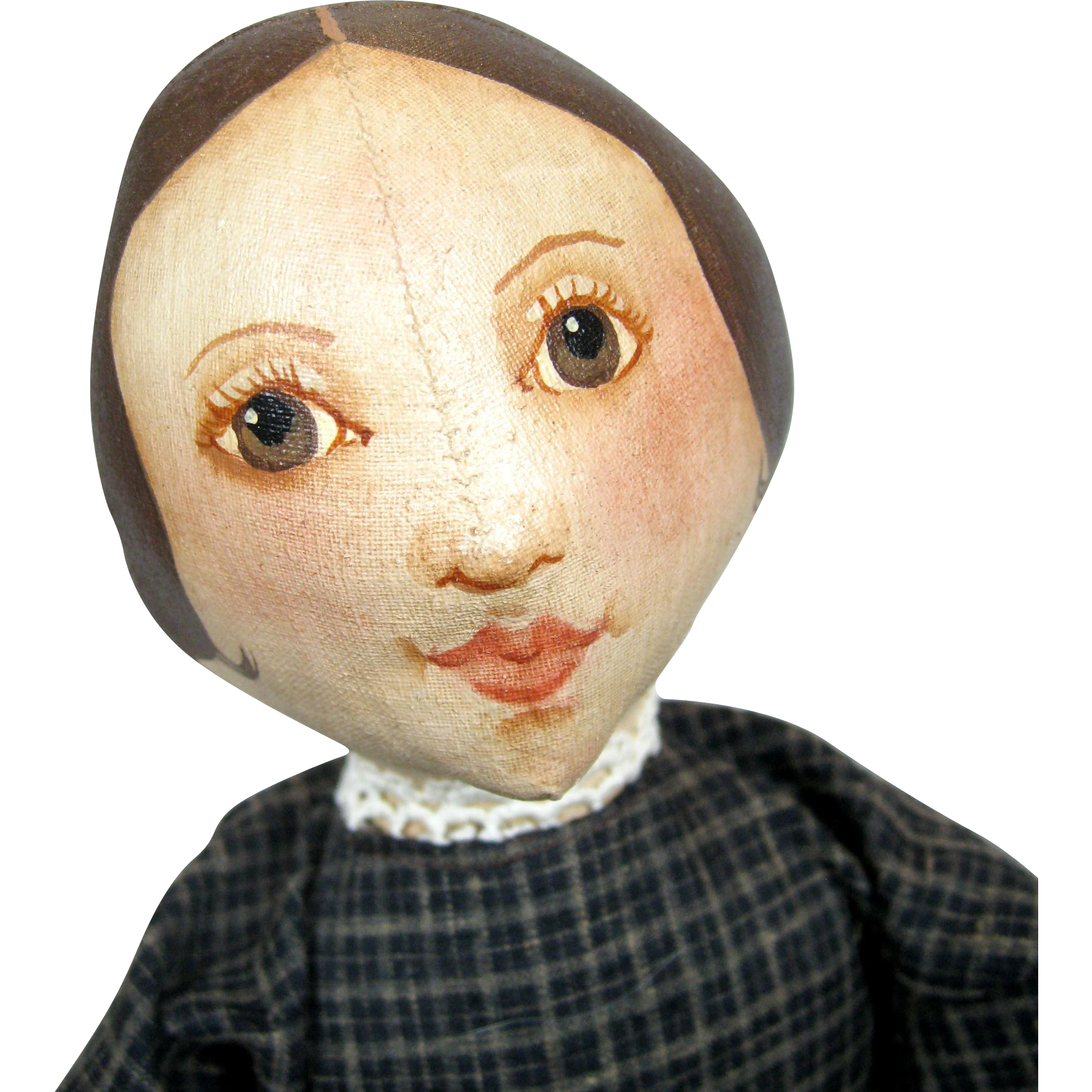 Primitive Artist Oil Painted Folk Art Cloth Doll ~ Sue Johnson 1987