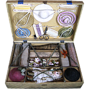 Antique French Modiste Doll and Hat Making Presentation Box Set