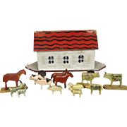Antique Folk Art Barn or Noah's Ark Pull Toy with Miniature Wood Animals for Doll Display