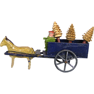 Doll House Miniature Wood Horse with Cart, Man and Trees