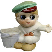Adorable All Bisque Googly Eyed Boy Character Doll Figure Figurine with Bucket