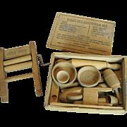 Vintage Polly Pet Household Set Wood Newton & Thompson Vermont - Treen Woodenware