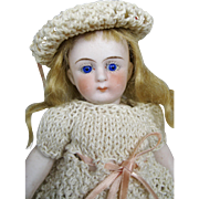 """Darling Antique 5 1/2"""" All Bisque Mignonette German Doll With Swivel Head"""