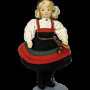 Vintage Ronnaug Petterssen Felt Cloth Doll Setez Bunad Folk Costume NORWAY
