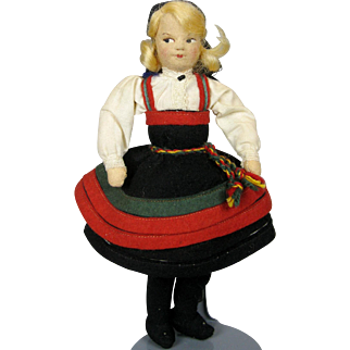 Vintage Ronnaug Petterssen Felt Cloth Doll Setez Bunad Folk Costume NORWAY
