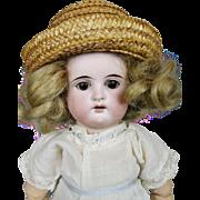 "Sweet Cabinet Size 12"" Antique German Bisque Head Doll"