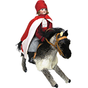 Antique German Doll Riding Horse ~ Wind Up Mechanical Automaton Toy