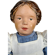 """14"""" Schoenhut Doll Carved Hair and Blue Bow ~ Original Shoes!"""