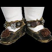 Antique Tiny Keystone Mark Leather Doll Shoes