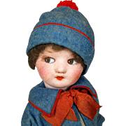 German Papier-Mache Felt and Cloth Doll ~ So adorable!