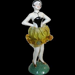 All Original German China Art Deco Flapper Standing Half Doll Pincushion
