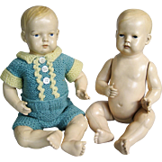 Adorable Pair of Vintage Celluloid Brother Baby Dolls