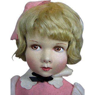 """Lovely 14"""" French Raynal Cloth and Felt Doll"""