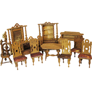 Large Set of Antique Miniature Doll House Furniture