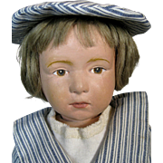 Early Incised Mark Schoenhut Wood Pouty Character Doll