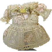 Adorable Little Lace Dress for Antique Small Doll