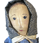 Primitive Style Artist Cloth Doll with Stitched Nose