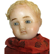 Antique Wax Head Doll ~ Antique Dress