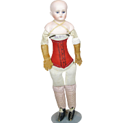 Antique Closed Mouth German Doll with My Dolly Cloth Corset Body