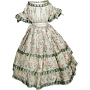 Antique Silk French Fashion Doll Dress