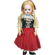 """Adorable A/O 9"""" German Bisque Head Marseille Doll with Fully Jointed Composition Body"""