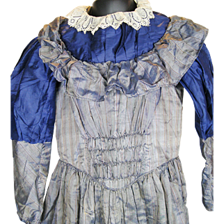 Incredible Antique Child's Girl's Striped Silk Dress