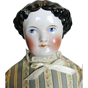 Gorgeous Antique German Glazed China Head Flat Top Doll