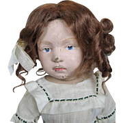 Sweet Pouty Schoenhut Antique Wood Doll ~ Early Incised Mark