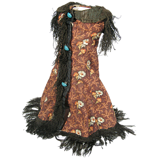 Antique French Fashion Doll Floral Dress with Thread Trim