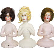 Group of Three Vintage Plaster Half Dolls With Mohair Wigs