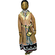 Antique Native American Indian Beaded Corn Husk Doll.