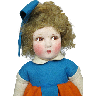 "Adorable 14"" Vintage Cloth and Felt Doll"