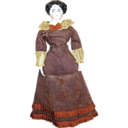Antique German Glazed China Head Doll w Great Antique Fashion Dress