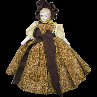 "Antique 5"" Doll House Miniature Bisque Shoulder Head German Doll"