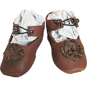 Artisan Made French or German Leather Doll Shoes with Rosettes