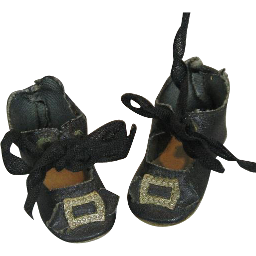 2 quot black doll shoes with heels and toe buckles from